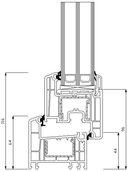 Rehau Euro 70 40мм прямий штапік пряма стулка