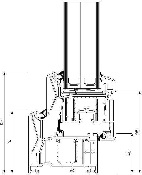 REHAU Synego 42мм прямий штапік пряма стулка