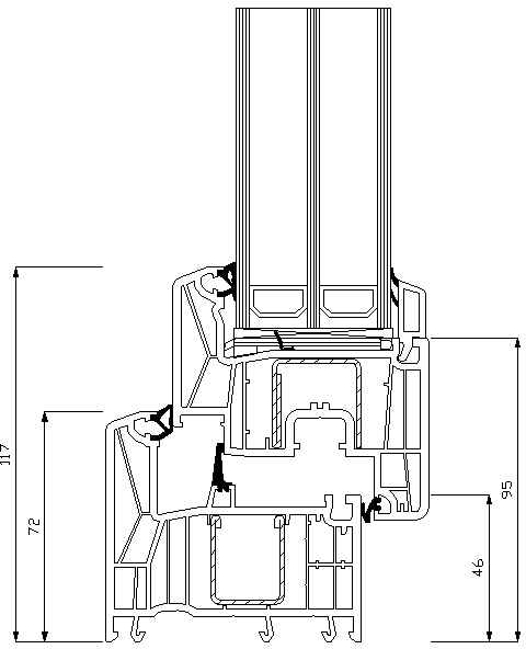 REHAU Synego 50мм прямий штапік пряма стулка