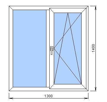 схема вікна 1300 на 1400