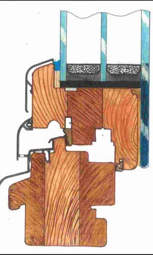 креслення дерев'яного вікна WOODWIN Hi-Tec